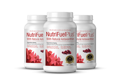 NUTRIFUEL + NATURAL ASTAXANTHIN 3 X Btl Soluble Oral Powderr Multi with Scoop.
