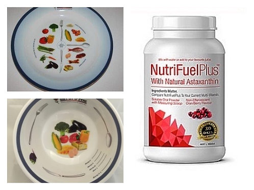 NUTRIFUEL PLUS AND PORTION CONTROL PLATE/BOWL BUNDLE - MELAMINE