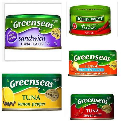 FIVE OF THE BEST GREENSEAS/JOHN WEST 'FLAVORFULL TUNA - 5 X 95gm Cans