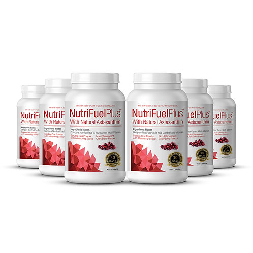 NUTRIFUEL + NATURAL ASTAXANTHIN 6 X Btl Soluble Oral Powderr Multi with Scoop.