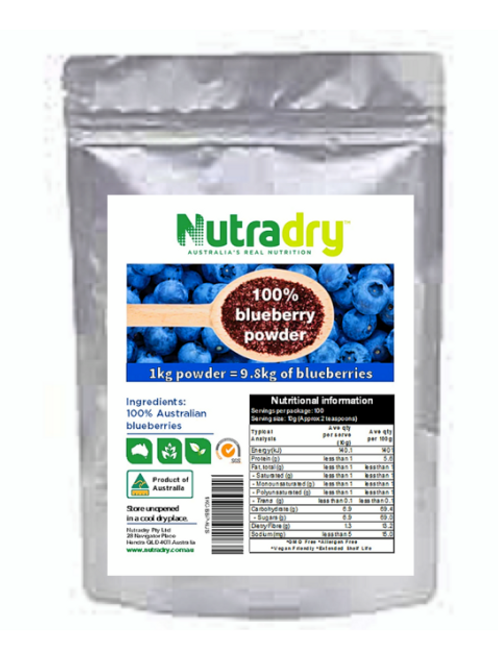 NUTRIDRY* DEHYDRATED BLUEBERRY FRUIT POWDER - EQIV  TO 9.8Kg REAL FRUIT