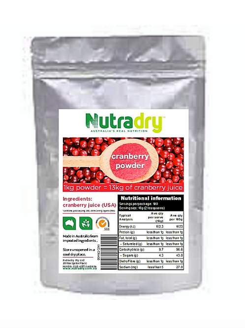 NUTRIDRY* DEHYDRATED CRANBERRY FRUIT JUICE POWDER- EQUIV TO 13kg Real Juice