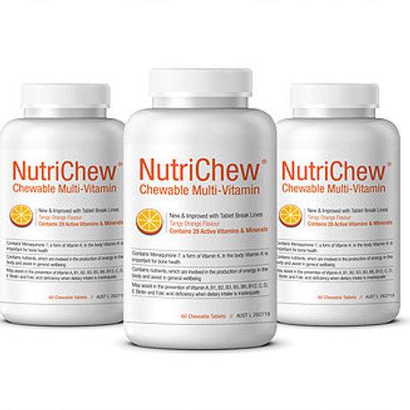 NUTRICHEW CHEWABLE MULTIVITAMIN/MULTIMINERAL (60 Tablets X 3 Bottles.