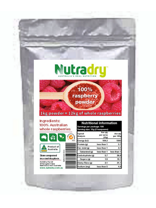 NUTRIDRY* DEHYDRATED RASPBERRY FRUIT POWDER EQUIV TO - 10.3kg Real Fruit