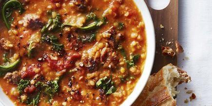 Pantry Lentil, Sweet Potato & Kale Soup
