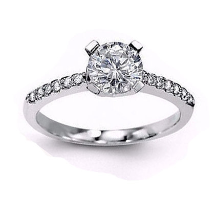 .11 ctw 14K White Gold Diamond Engagement Ring