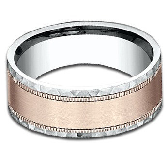 8 mm 14k White & Rose Gold Band with Satin & Hammered Finish