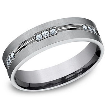 6mm Grooved Satin Center .36 ct. Created Diamond Band