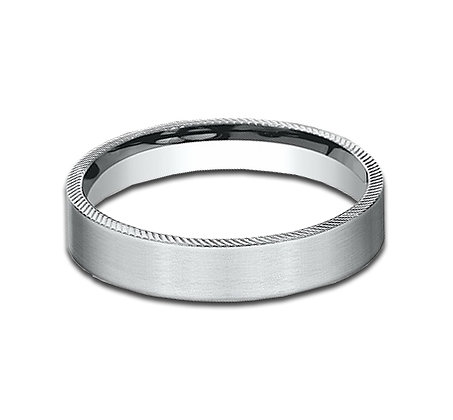 4.5 mm 14k White Gold Band with Cross Edge Cut