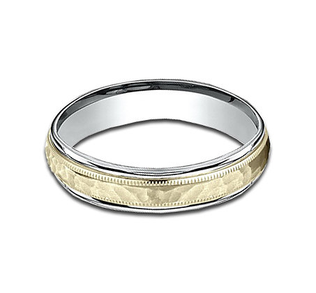 4.5 mm 14k White and Yellow Gold Band with  a Hammered Center