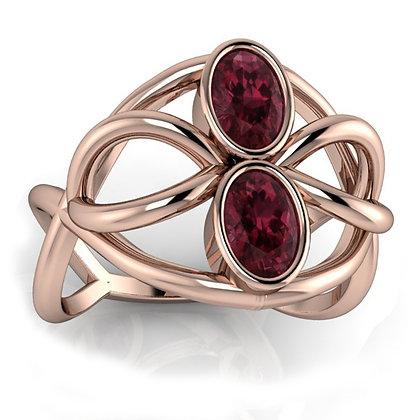 14k Rose Gold Rhodolite Garnet Ring