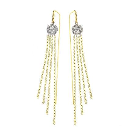 Diamond, 14K White & Yellow Gold Fringed Drop Earrings