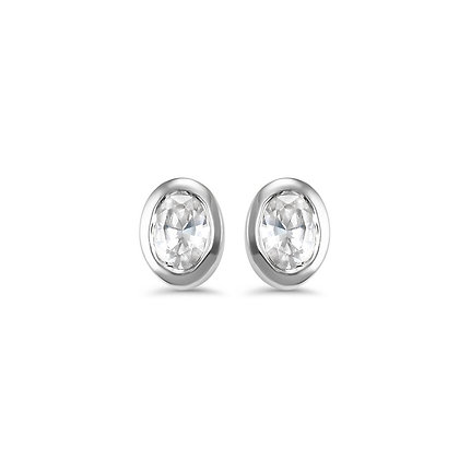 14k Gold .16 ctw Diamond Bezel Set Earrings