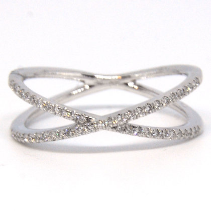 0.23 ct. White Gold Criss Cross Diamond Ring