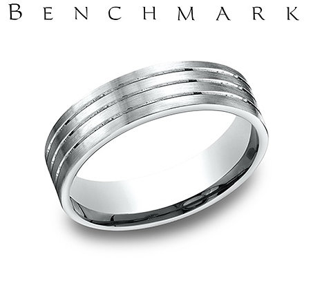 14k triple groove polished wedding band