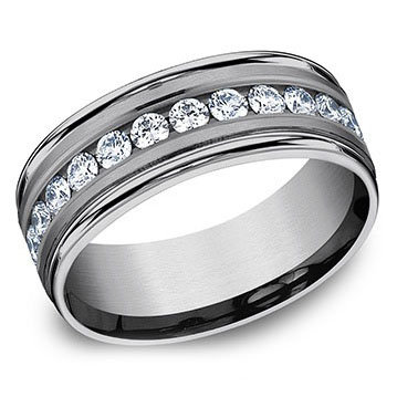 8mm Grooved Satin Center .40 ct. Created Diamond Band