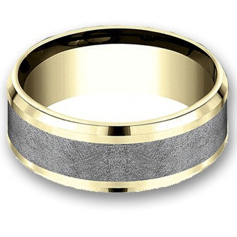 8 mm 14k Yellow & White Gold Band