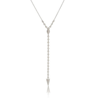 14k White Gold Drape Down .59 ctw Diamond Dagger Necklace