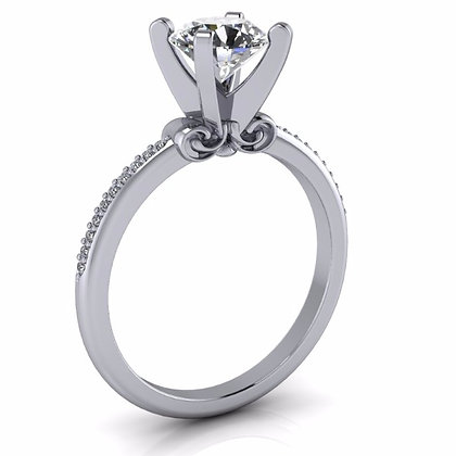 14k White Gold Solitaire Setting .08 ctw