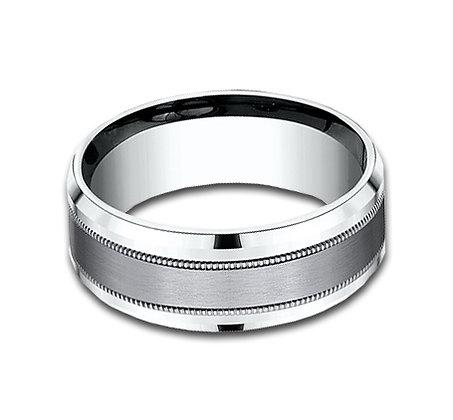 8 mm 14k White Gold Band with Tantalum Center