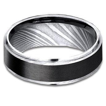 8 mm Damascus Steel Band with Black Titanium Center