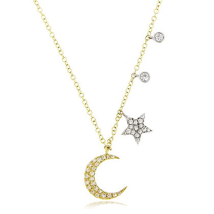 .19 ctw Diamond Crescent Moon and Star Necklace