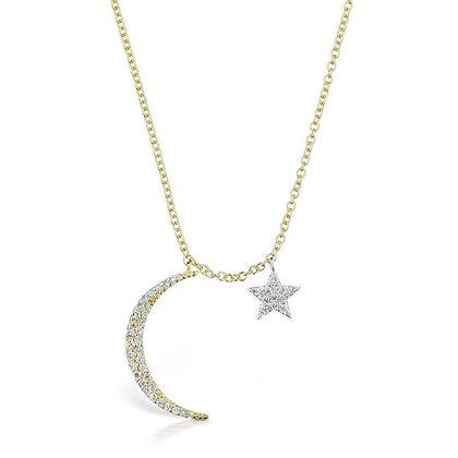 .26 ctw Diamond Crescent Moon and Star Necklace