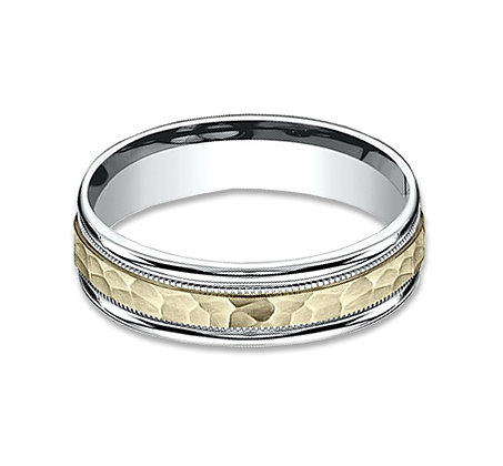 6 mm 14k yellow and white hammered finished band