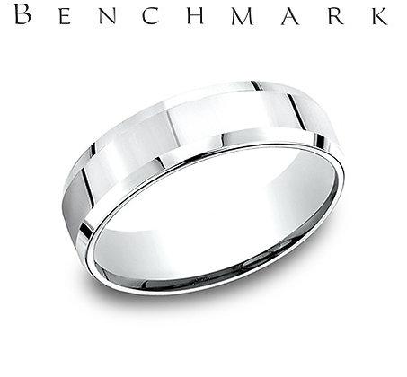 14k polished wedding band with beveled edge
