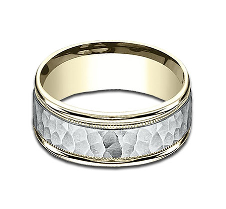 8 mm 14k White and Yellow Gold Band with Hammered Finish