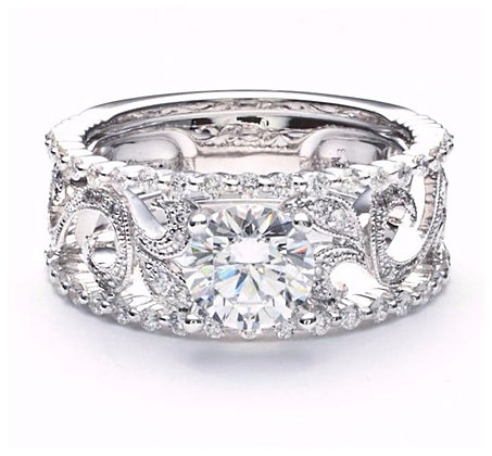 1.35 ctw Four Band Diamond Engagement Mounting