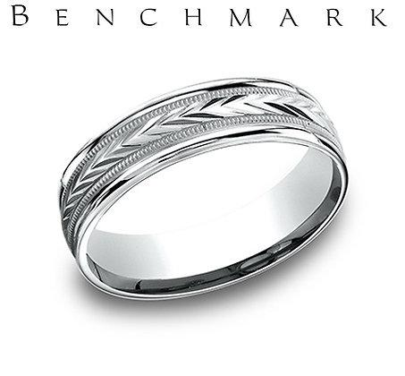 14k engraved wedding band with polished edge