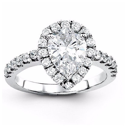 .56 ctw White Gold Diamond Engagement Mounting For A Pear Shaped Center