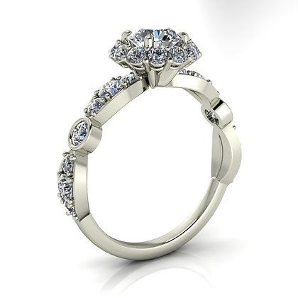 .80 ctw White gold diamond engagement ring