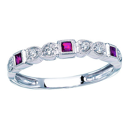 10k Square Ruby and Diamond Band