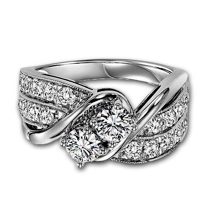 "14k white gold ""Twogether"" design 1 ctw"