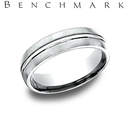 14k satin finished wedding band with center groove