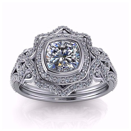 Antique Style Floral Designed Diamond Engagement Setting