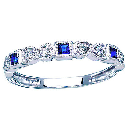10k Square Sapphire and Diamond Band