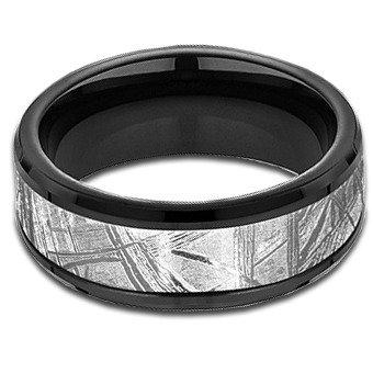 8 mm Black Titanium Band with Meteorite Center