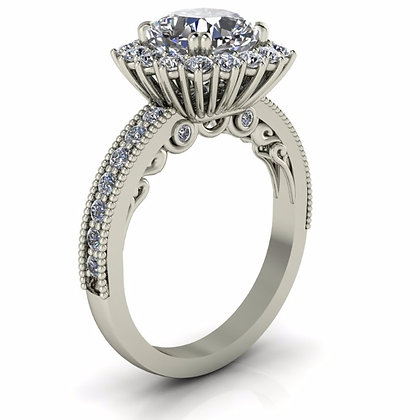 Halo Style Diamond Engagement Setting .70 ctw