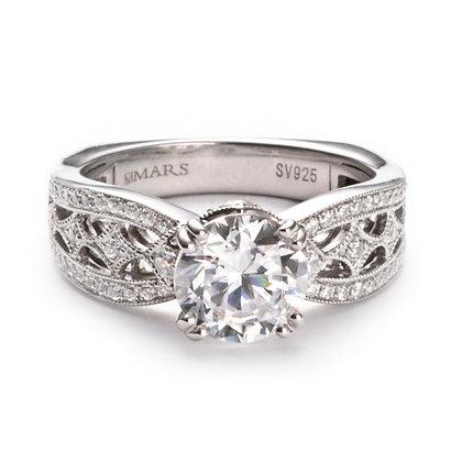.35 ctw 14k White Gold Diamond Engagement Ring
