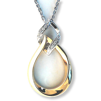 18k white and yellow gold 0.07 ctw tear drop diamond Pendant