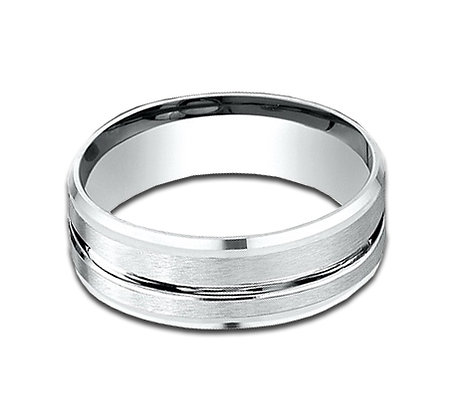 7 mm 14k White Gold Band with Groove in Center