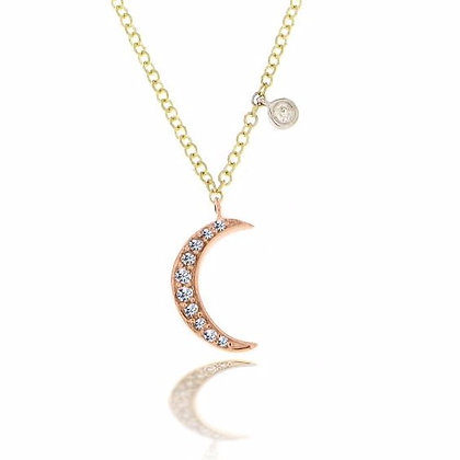 .08 ctw Diamond Yellow and Rose Moon Necklace