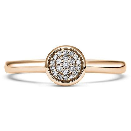 14K Gold Circle Shaped Diamond Ring