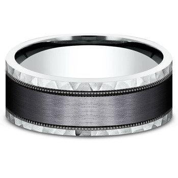 8 mm 14k White Gold & Tantalum Center Band