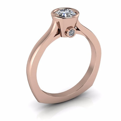 14k Rose Gold Solitaire Bezel Setting .04 ctw