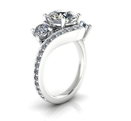 14k White Gold Twisted 3 Stone Setting