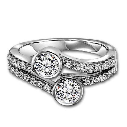 "14k white gold Bezel Set ""Twogether"" design 1/2 ctw"